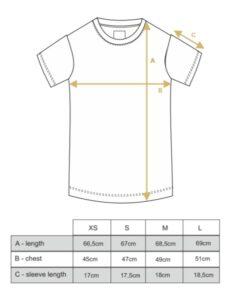 T-shirt women triangle, rosesize chart