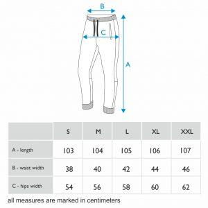 Size chart men sweatpants