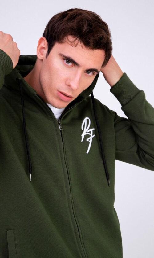 MEN Hoodie Zip RF Olive